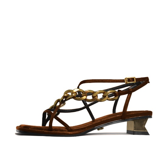CHAIN AND SQUARE TOE SANDALS NUH4578BR