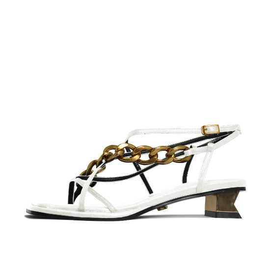 CHAIN AND SQUARE TOE SANDALS NUH4578WH