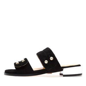 PEARL BUTTON SUEDE SLIDES NUH4501BK
