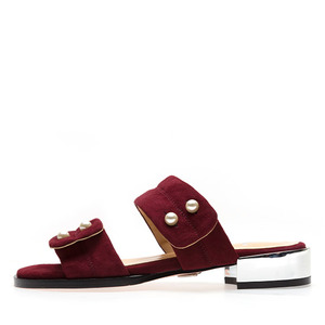 PEARL BUTTON SUEDE SLIDES NUH4501WI