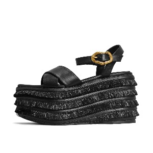 STRAW BUCKLE SANDALS NUH4576BK