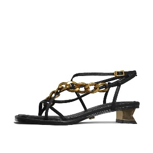CHAIN AND SQUARE TOE SANDALS NUH4578BK